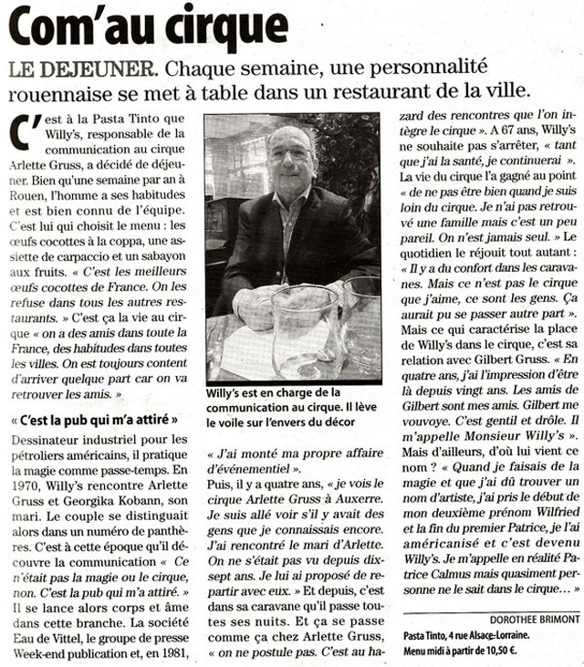 Seine-Maritime: interview dans le quotidien Paris-Normandie du chargé de communication du Cirque Arlette Gruss